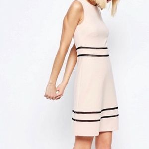 asos pink/nude dress with ladder trim